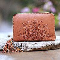 Leather clutch, 'Padma Bloom' - Lotus Pattern Leather Clutch Crafted in Bali