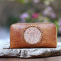 Leather clutch, 'Padma Center in Ginger' - Patterned Leather Clutch in Ginger from Bali