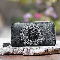 Leather clutch, 'Padma Center in Onyx' - Patterned Leather Clutch in Onyx from Bali