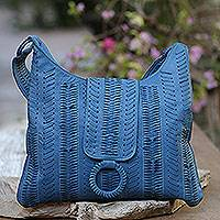 Leather hobo handbag, 'Azure Anyaman' - Patterned Leather Hobo Handbag in Azure from Bali