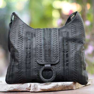 Leather hobo handbag, 'Onyx Anyaman' - Patterned Leather Hobo Handbag in Onyx from Bali