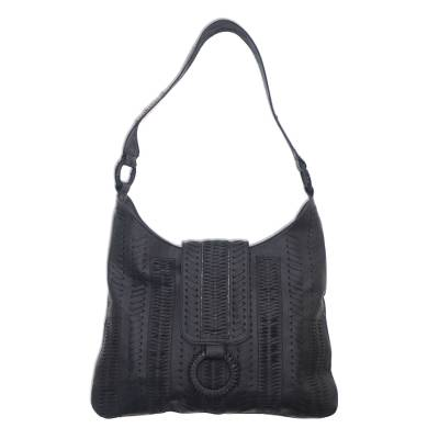 Leather hobo handbag, 'Onyx Anyaman' - Patterned Leather Hobo Handbag in Onyx from Bali