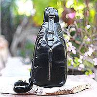 Leather backpack sling, 'Sleek Travels' - Solid Onyx Leather Backpack Sling from Bali