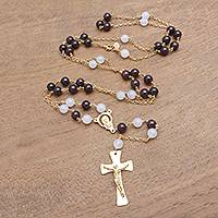 Gold plated garnet and moonstone rosary, 'Gemstone Cross' - Gold Plated Garnet and Moonstone Rosary from Bali