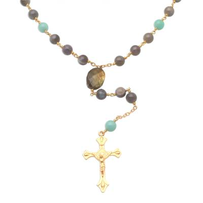 Gold Plated Labradorite and Amazonite Rosary from Bali