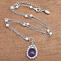 Amethyst and cultured pearl pendant necklace, 'Wreathed Beauty' - Amethyst and Cultured Pearl Pendant Necklace from Bali
