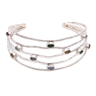 Multi-gemstone cuff bracelet, 'Flow of Stars' - Multi-Gemstone Cuff Bracelet Crafted in Bali