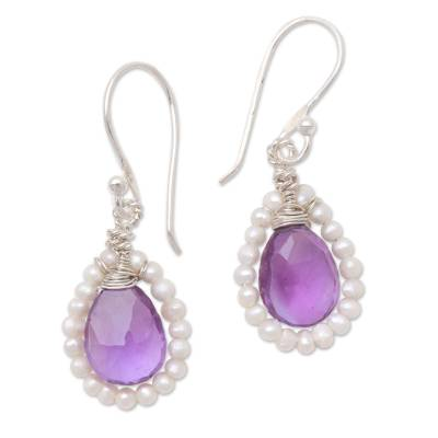 Amethyst and Cultured Pearl Dangle Earrings from Bali