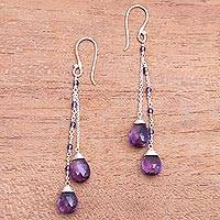 Amethyst dangle earrings, 'Dangling Dew' - 14-Carat Amethyst Dangle Earrings Crafted in Bali