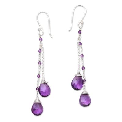 Amethyst dangle earrings, 'Dangling Dew' - 14-Carat Amethyst Dangle Earrings Crafted in Bali