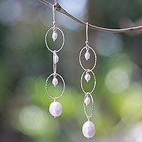 Cultured pearl dangle earrings, 'Glowing Twist' - Cultured Pearl Dangle Earrings from Bali