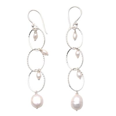 Cultured pearl dangle earrings, 'Glowing Twist' - Cultured Pearl Dangle Earrings from Bali