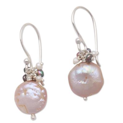 Cultured Pearl Beaded Dangle Earrings from Bali