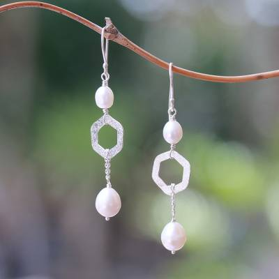 Cultured pearl dangle earrings, 'Hexagon Glow' - Hexagonal Cultured Pearl Dangle Earrings from Bali
