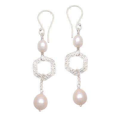Hexagonal Cultured Pearl Dangle Earrings from Bali