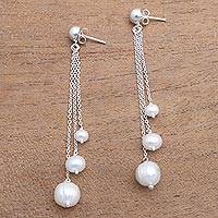 Cultured pearl dangle earrings, 'Glowing Peace' - Cultured Pearl Trio Dangle Earrings from Bali