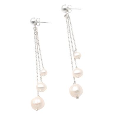 Cultured Pearl Trio Dangle Earrings from Bali