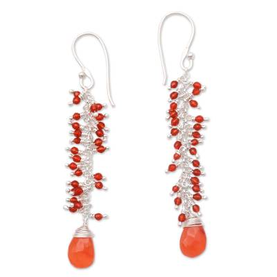 Carnelian cluster earrings, 'Sunset Glitter' - Carnelian Cluster Earrings Crafted in Bali