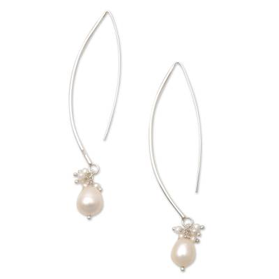 Cultured pearl dangle earrings, 'Glowing Fruit' - Cultured Pearl Cluster Dangle Earrings from Bali