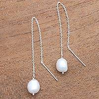 Cultured pearl threader earrings, 'Lantern Light' - Cultured Pearl Threader Earrings Crafted in Bali