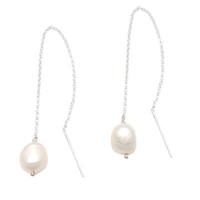 Cultured pearl threader earrings, 'Lantern Light' - Cultured Pearl Threader Earrings Crafted in Bali