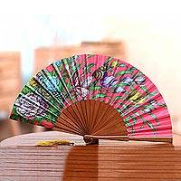 Silk hand fan, 'Passionate Garden' - Floral Silk Hand Fan in Strawberry from Bali