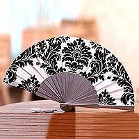 Silk hand fan, 'Elegant Royalty' - Black and Slate Printed Silk Hand Fan from Bali