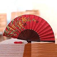Embroidered silk hand fan, 'Lily Garden' - Floral Embroidered Silk Hand Fan in Crimson from Bali