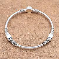 Sterling silver bangle bracelet, 'Oval Trio' - Oval Pattern Sterling Silver Bangle Bracelet from Bali