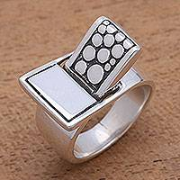 Sterling silver cocktail ring, 'Modern Bridge' - Modern Sterling Silver Cocktail Ring from Bali