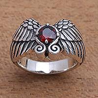 Garnet band ring, 'Winged Glitter' - Wing Motif Garnet Band Ring from Bali
