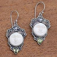 Peridot dangle earrings, 'Honest Guardians' - Peridot and Bone Dangle Earrings from Bali