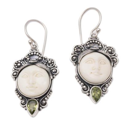 Peridot dangle earrings, 'Honest Guardians' - Peridot and Bone Dangle Earrings from Bali