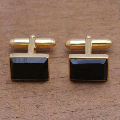Gold plated onyx cufflinks, 'Regal Rectangles' - Gold Plated Rectangular Onyx Cufflinks from Bali