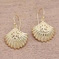 Gold plated sterling silver dangle earrings, 'Gleaming Clam Shells' - Gold Plated Sterling Silver Clam Shell Dangle Earrings