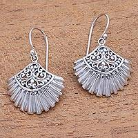 Sterling silver dangle earrings, 'Gleaming Clam Shells' - Sterling Silver Clam Shell Dangle Earrings from Bali