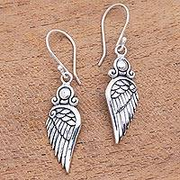 Sterling silver dangle earrings, 'Flirty Wings'
