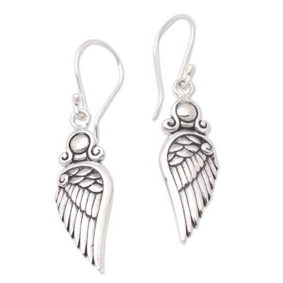 Sterling silver dangle earrings, 'Flirty Wings' - Wing-Shaped Sterling Silver Dangle Earrings from Bali