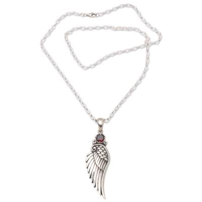 Garnet pendant necklace, 'One Wing' - Wing-Themed Garnet Pendant Necklace from Bali