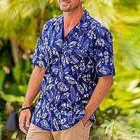 Men's cotton shirt, 'Blue Leaf Shadows' - Men's Short Sleeved Blue Cotton Batik Shirt from Bali