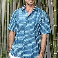Men's batik linen and cotton blend shirt, 'Indigo Stripes' - Men's Batik Linen and Cotton Blend Shirt in French Blue
