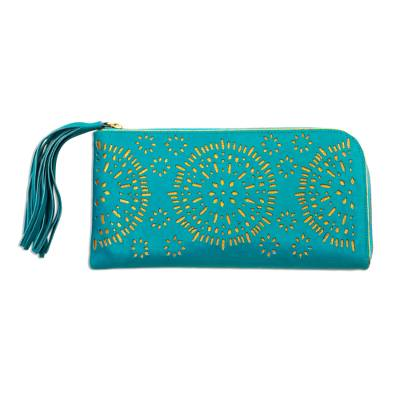 Circle Pattern Leather Clutch in Tosca from Bali