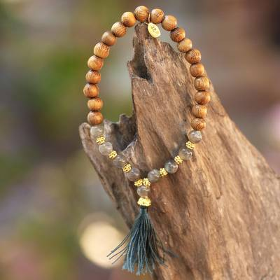 Gold accented labradorite and wood beaded stretch bracelet, 'Batuan Harmony' - Gold Accented Labradorite and Wood Beaded Stretch Bracelet
