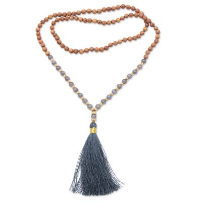 Gold accented labradorite and wood beaded pendant necklace, 'Batuan Harmony' - Gold Accented Labradorite and Wood Beaded Pendant Necklace