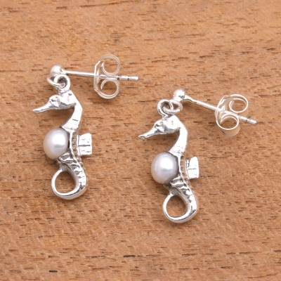 Cultured pearl dangle earrings, 'Amed Beach Seahorse' - Bali Sterling Silver Seahorse Earrings with White Pearls