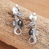 Cultured pearl dangle earrings, 'Amed Night Seahorse' - Bali Sterling Silver Seahorse Earrings with Dark Pearls