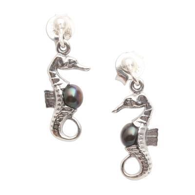 Cultured pearl dangle earrings, 'Amed Night Seahorse' - Bali Sterling Silver Seahorse Earrings with Dark Pearls