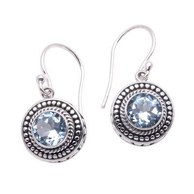 Blue topaz dangle earrings, 'Loving Gaze' - Artisan Crafted Balinese Blue Topaz and Silver Earrings
