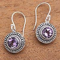 Amethyst dangle earrings, 'Loving Gaze' - Artisan Crafted Balinese Amethyst and Silver Earrings