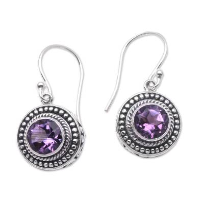 Amethyst dangle earrings, 'Loving Gaze' - Artisan Crafted Balinese Amethyst and Silver Earrings